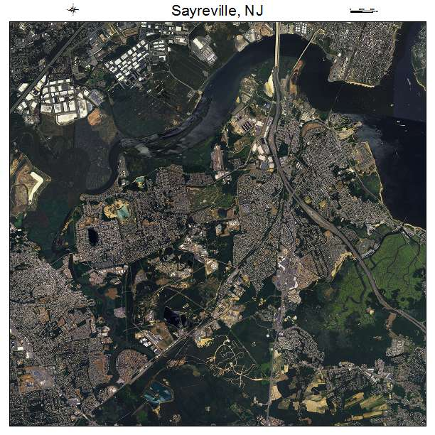 aerial photography map of sayreville  nj new jersey