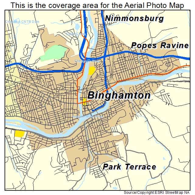 Aerial Photography Map of Binghamton NY New York