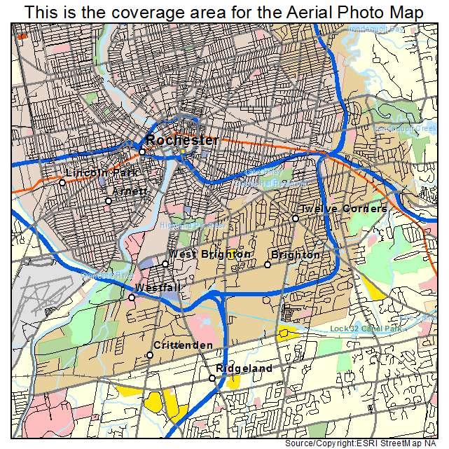 Aerial Photography Map of Brighton NY New York