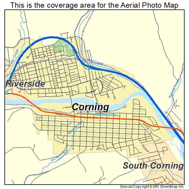 Aerial Photography Map Of Corning Ny New York
