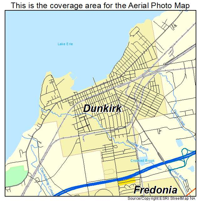 Aerial Photography Map of Dunkirk, NY New York on