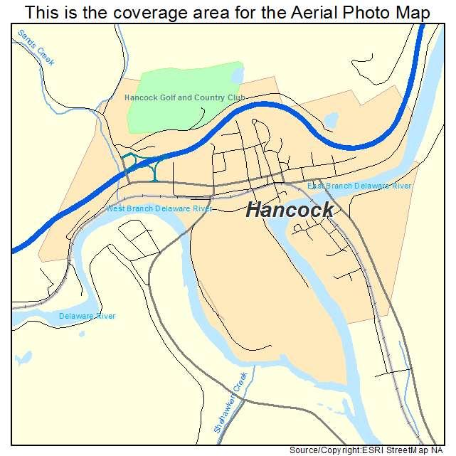 aerial photography map of hancock ny new york