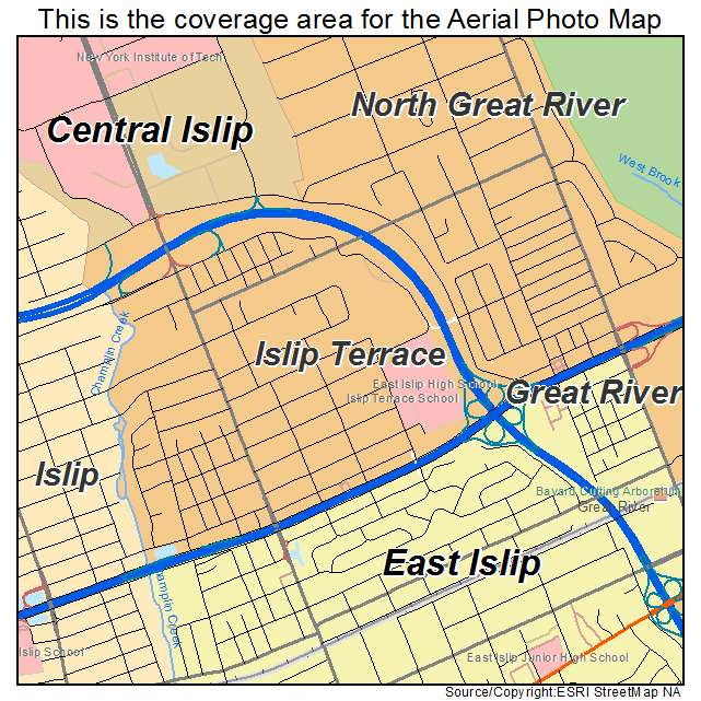 Aerial photography map of islip terrace ny new york for The terrace location