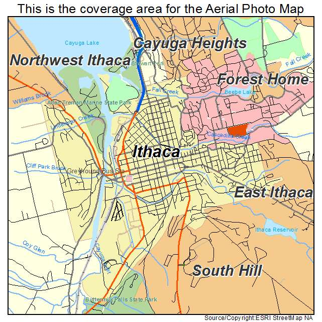 aerial photography map of ithaca ny new york
