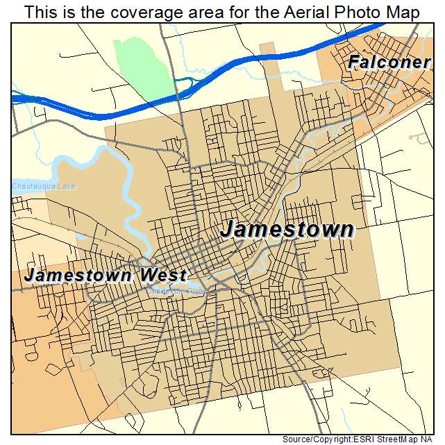 Aerial Photography Map of Jamestown NY New York