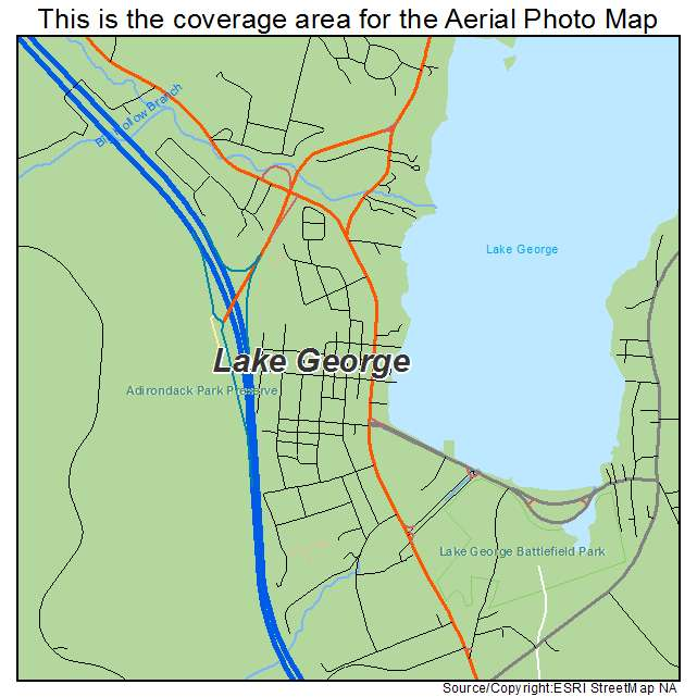 Lake George New York Map.Aerial Photography Map Of Lake George Ny New York