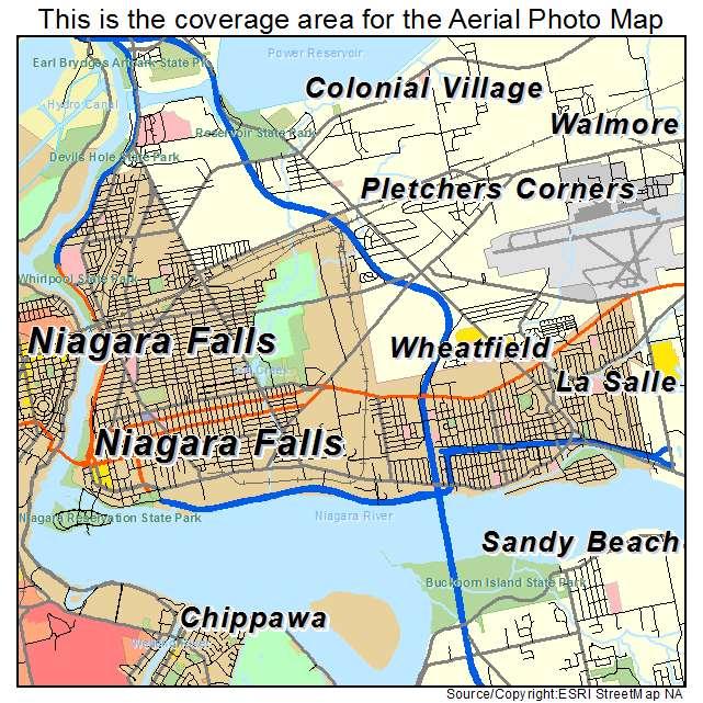Aerial Photography Map Of Niagara Falls Ny New York
