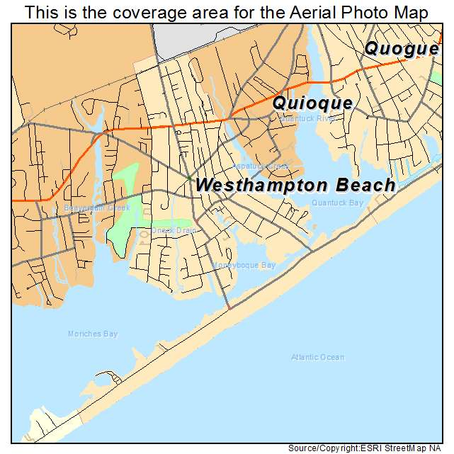 Aerial Photography Map of Westhampton Beach NY New York