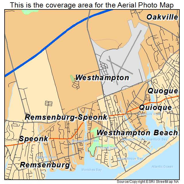 Aerial Photography Map of Westhampton NY New York