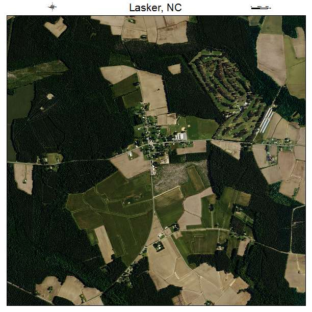 Lasker, NC air photo map