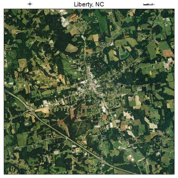 Liberty, NC air photo map