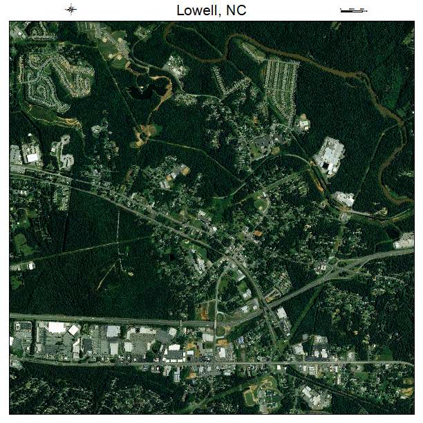 Lowell, NC air photo map