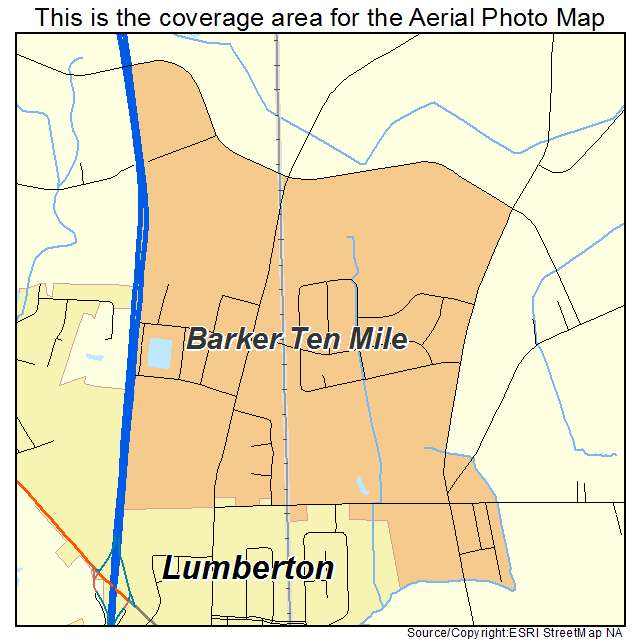 Barker Ten Mile, NC location map