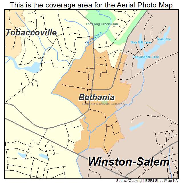 Bethania, NC location map