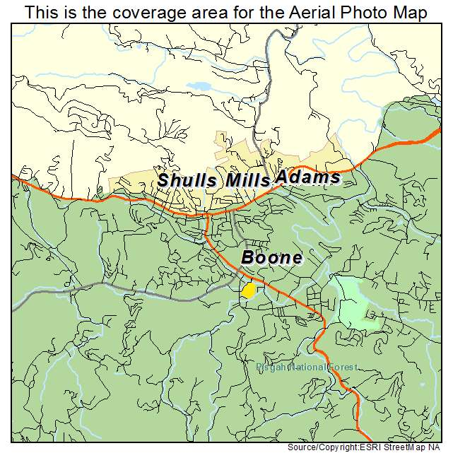 Aerial Photography Map Of Boone NC North Carolina