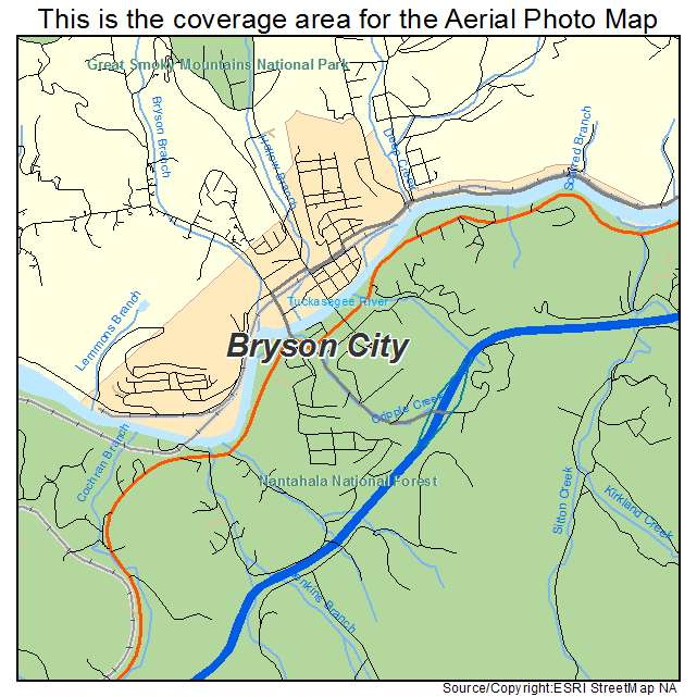 Bryson Nc Map.Aerial Photography Map Of Bryson City Nc North Carolina