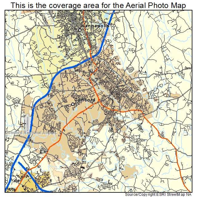 Aerial Photography Map Of Concord NC North Carolina