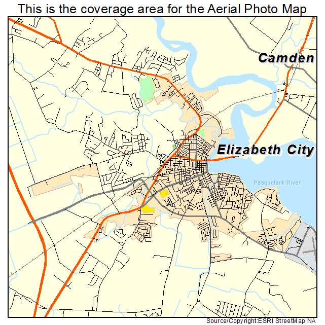 Map Of Elizabeth City Nc Aerial Photography Map of Elizabeth City, NC North Carolina