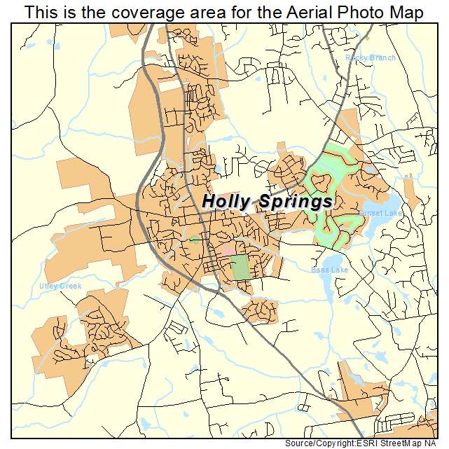 Holly Springs Nc Map Aerial Photography Map of Holly Springs, NC North Carolina