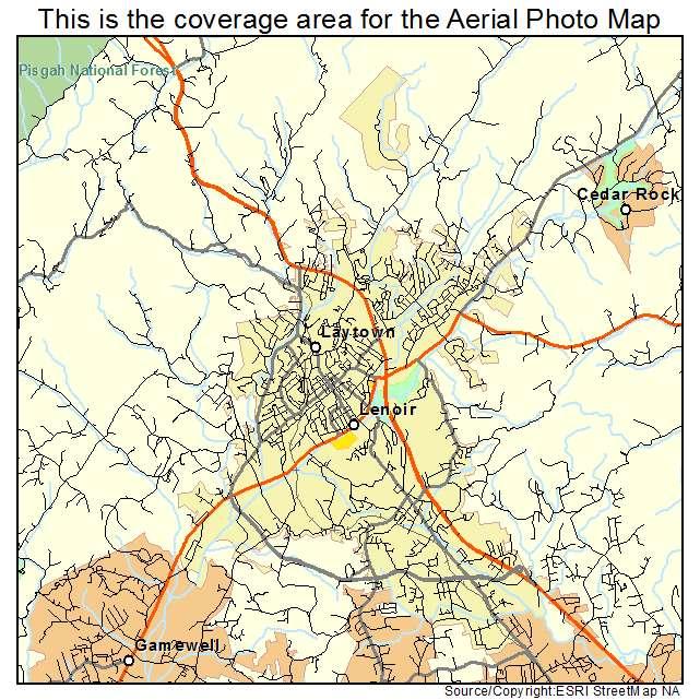 Aerial Photography Map Of Lenoir Nc North Carolina
