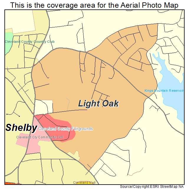 Light Oak, NC location map