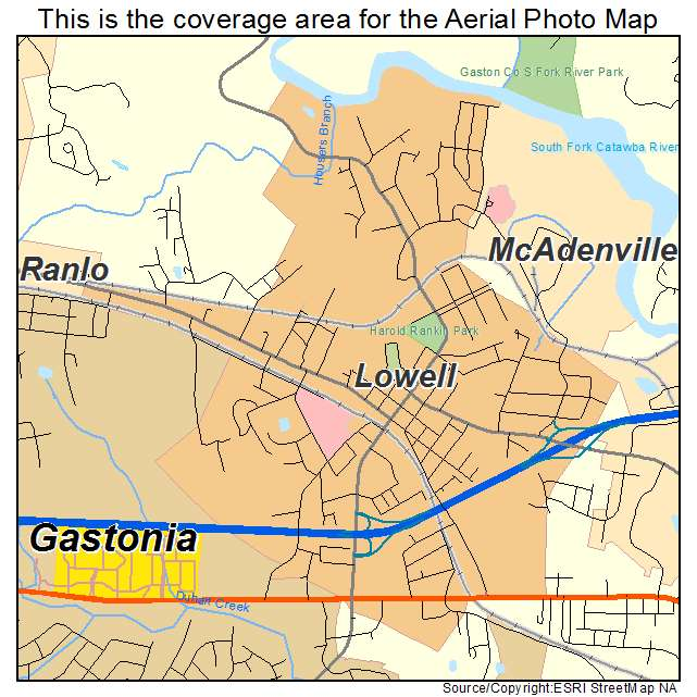 Lowell, NC location map