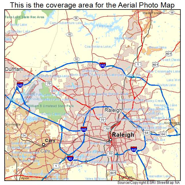 Aerial Photography Map Of Raleigh NC North Carolina