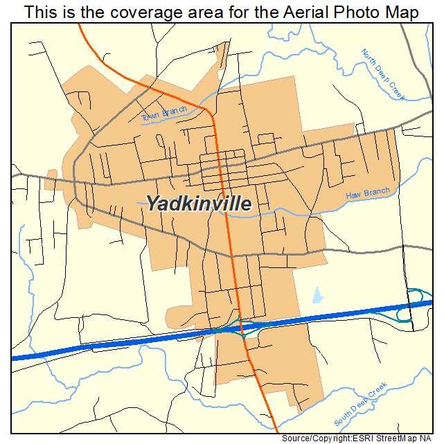 Aerial Photography Map of Yadkinville, NC North Carolina