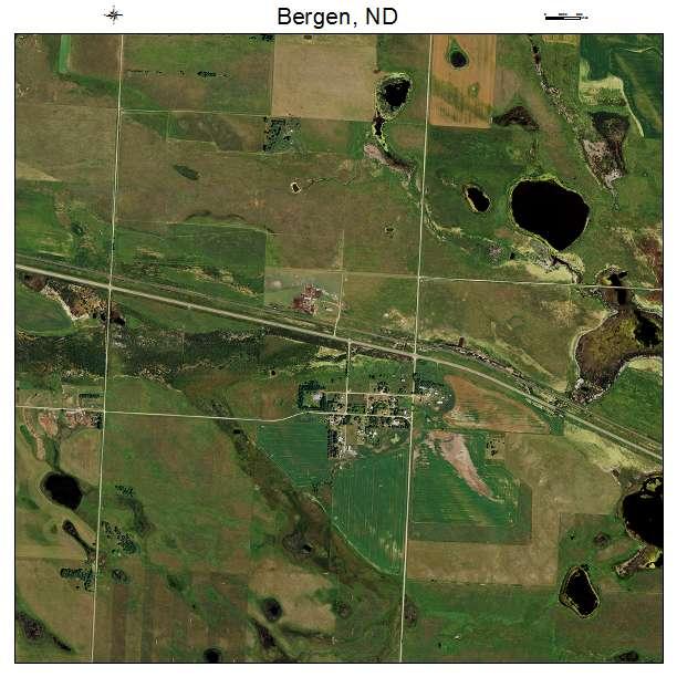 Bergen, ND air photo map