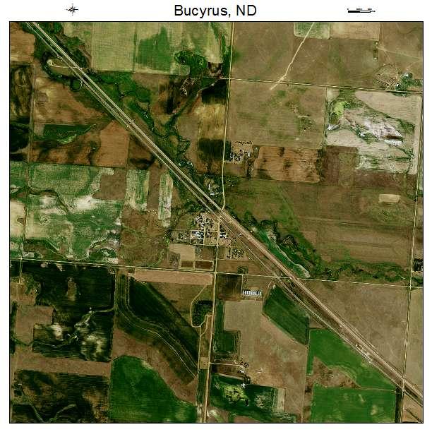 Bucyrus, ND air photo map