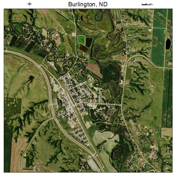 Burlington, ND air photo map