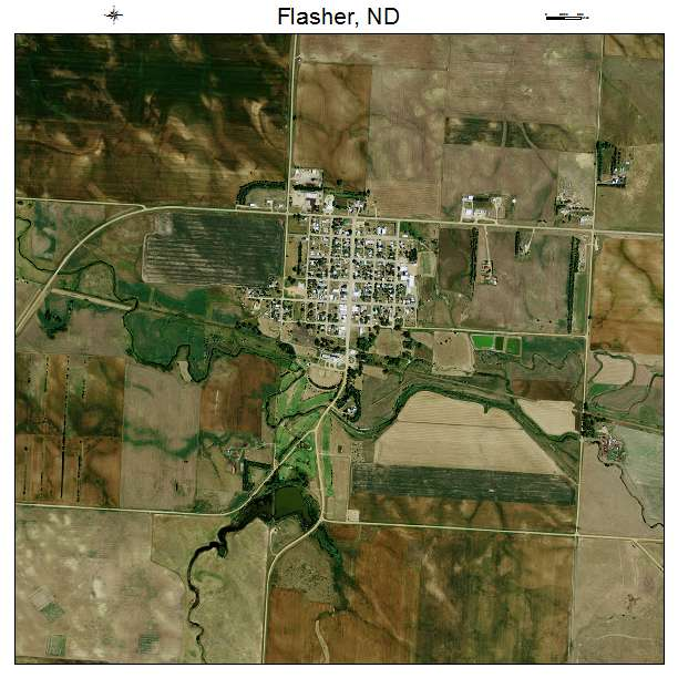 Flasher, ND air photo map