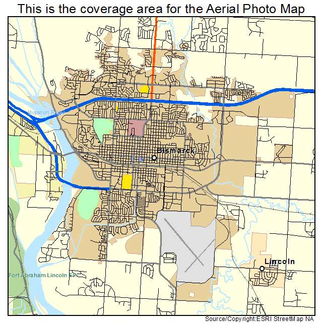 Aerial Photography Map Of Bismarck ND North Dakota