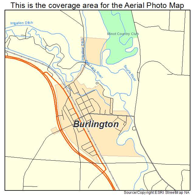 Burlington, ND location map