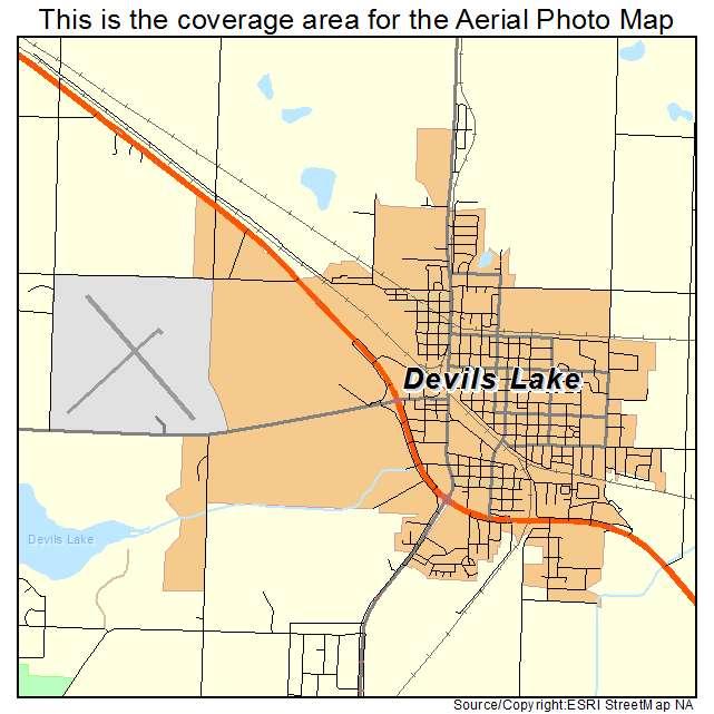 Aerial Photography Map Of Devils Lake ND North Dakota