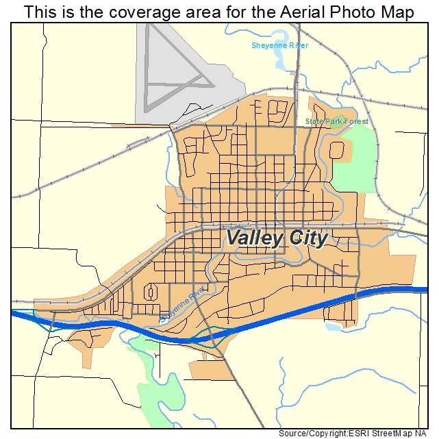 Aerial Photography Map of Valley City ND North Dakota
