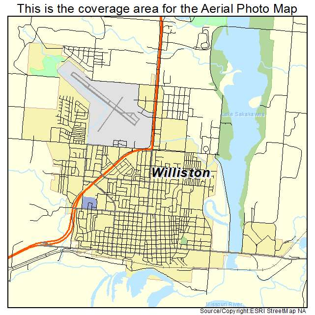 Aerial Photography Map of Williston ND North Dakota