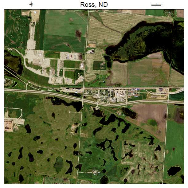 Ross, ND air photo map