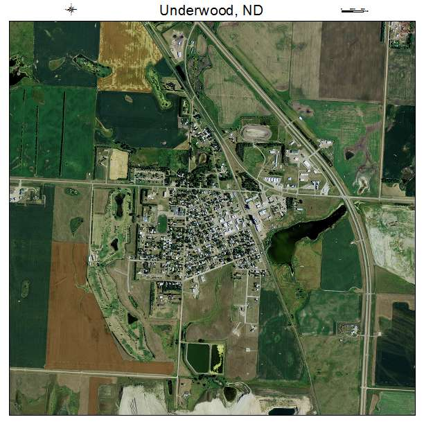 Underwood, ND air photo map