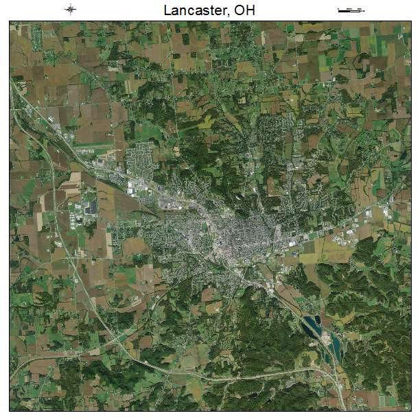 Lancaster, OH air photo map