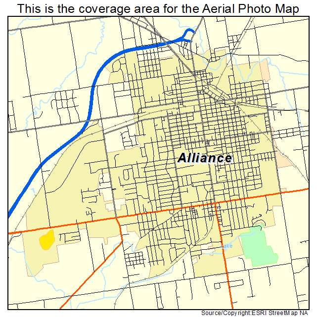 aerial photography map of alliance oh ohio