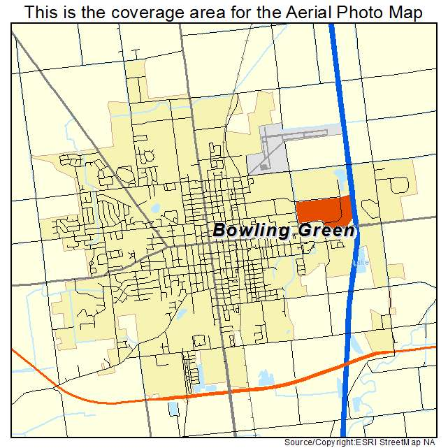 Aerial Photography Map of Bowling Green OH Ohio