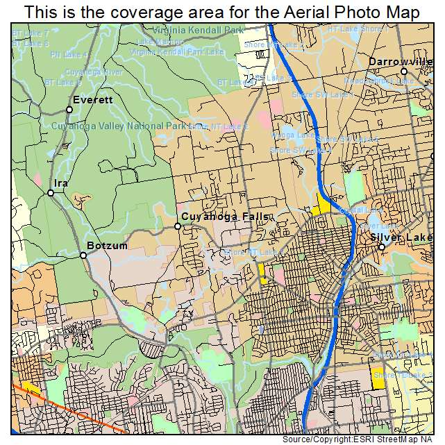Aerial Photography Map of Cuyahoga Falls OH Ohio