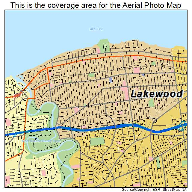 Lakewood Oh Ohio Aerial Photography Map 2015