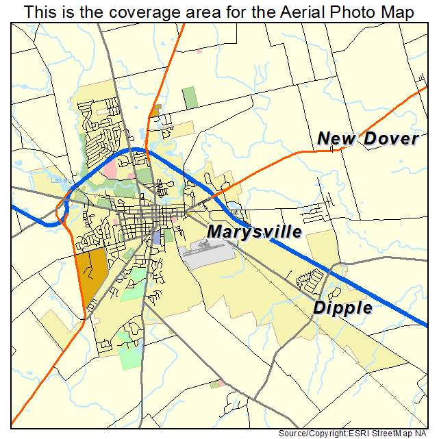 Aerial Photography Map of Marysville OH Ohio