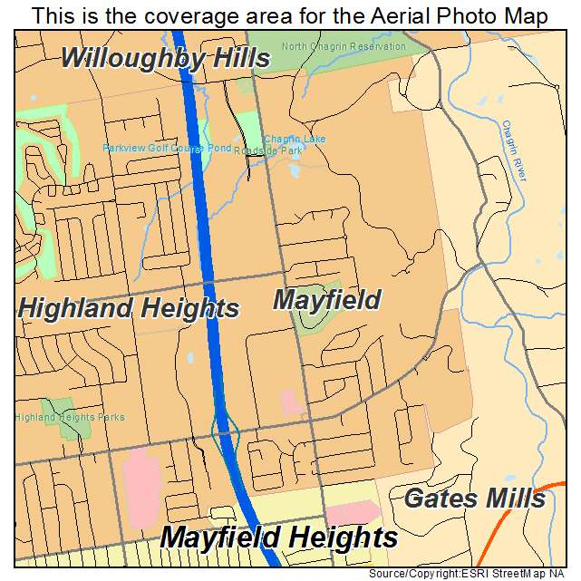 Mayfield Ohio Map.Aerial Photography Map Of Mayfield Oh Ohio