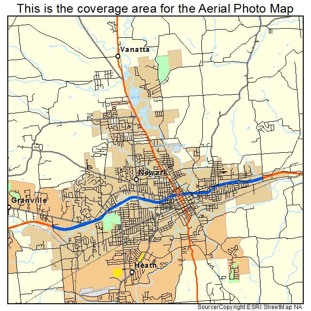Aerial Photography Map Of Newark Oh Ohio
