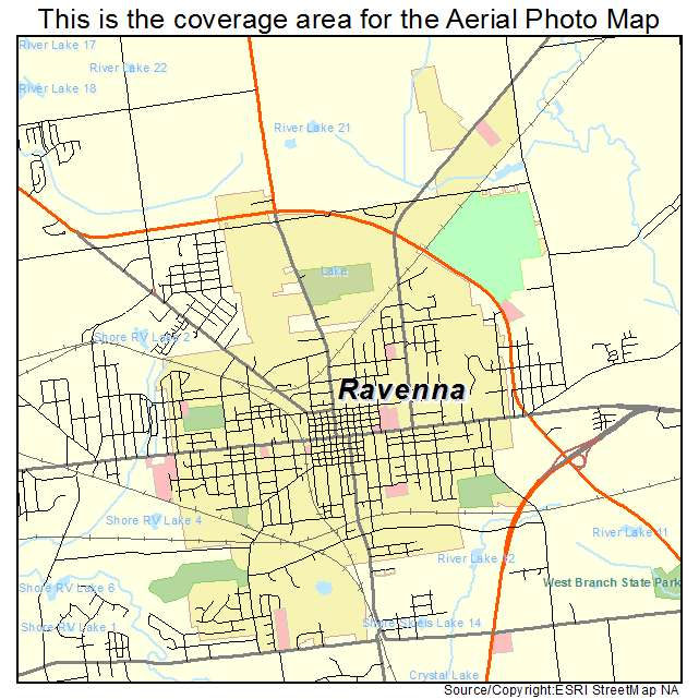 Aerial Photography Map of Ravenna OH Ohio