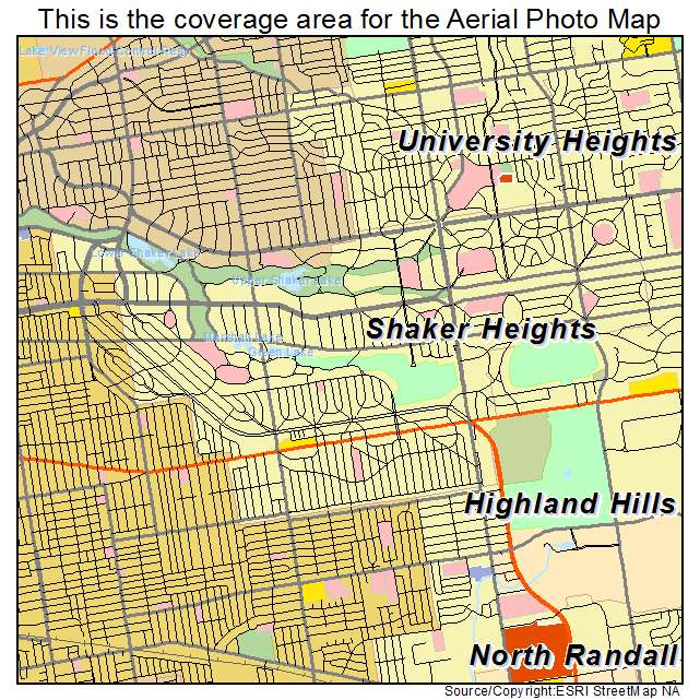 Aerial Photography Map Of Shaker Heights Oh Ohio