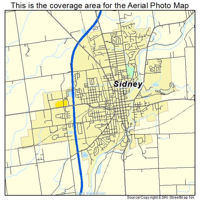 Aerial Photography Map Of Sidney Oh Ohio